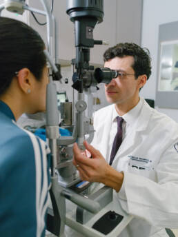 ophthalmologist examining a patient
